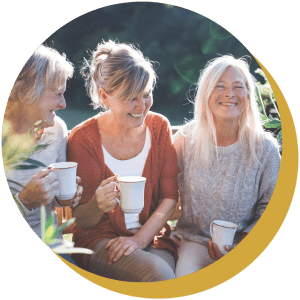Three women enjoying coffee