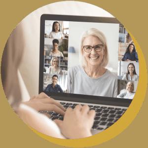 Virtual meeting with women on laptop